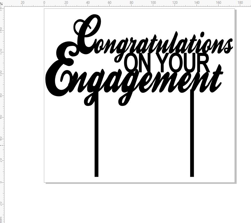 Acrylic cake topper  congratulations on your engagement 175 x 60